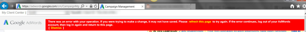 Adwords Red Bar of Death